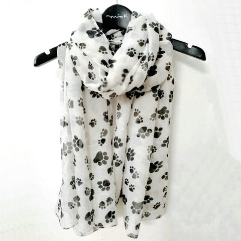 Long Paw Print Scarf in Black & White