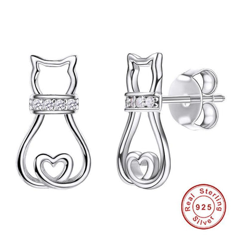 Sterling Silver Cat Stud Earrings with Sparkling Cubic Zirconia Collar