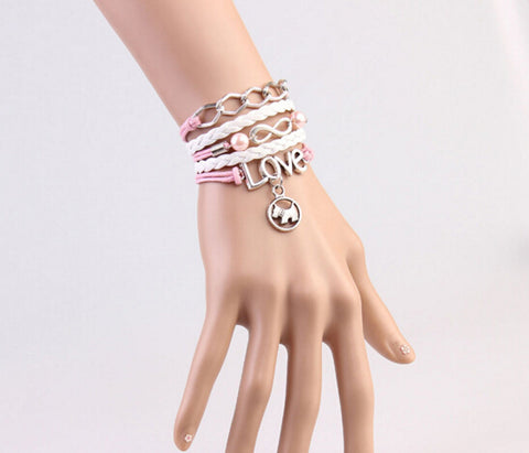 """Love Your Dog"" Infinity Leather Charm Bracelet"