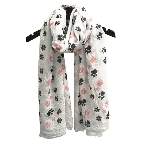 Women's Long Paw Print Scarf  - Available in 6 colors