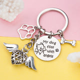 "Memorial Cat Keychain, Cat Keychain, Memorial ""Flying with Angels"" keychain, Silver Cat Keychain with charms"