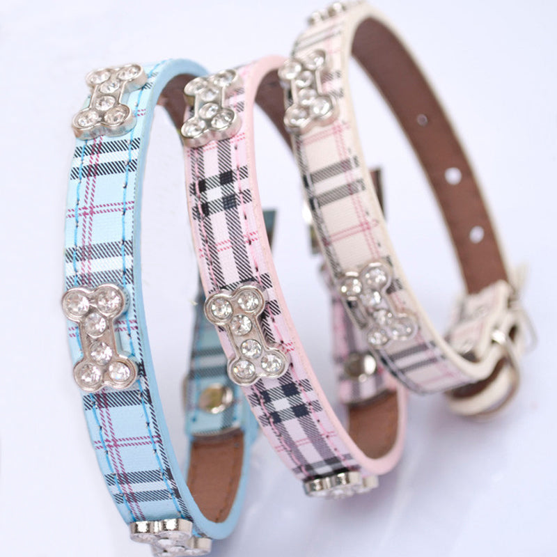 Plaid Fashion Pet Collar - Available in Plain or Bling Styles
