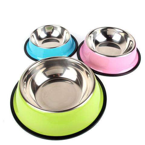 Soft Colored Stainless Steel Food & Water Bowls - Available in 3 Sizes & 4 Colors