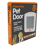 Small Cat or Dog 4-Way Lockable Door - Available in White or Brown