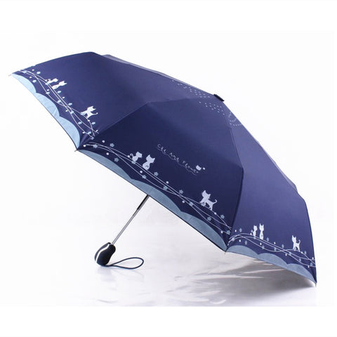 Full Circle of Cats 3-fold Automatic Umbrella - Available in 4 Colors