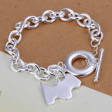 Sterling Silver Dog Charm Bracelet with Toggle Clasp
