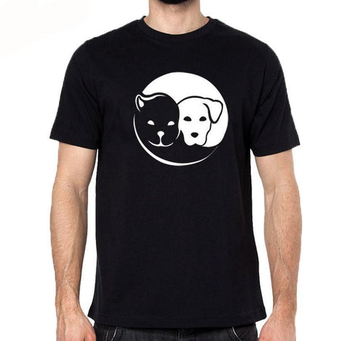 Pet Lover Yin & Yang Inspired Cat & Dog T-Shirt