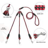 3 Dog Nylon Braided Rope Leash - Available in 2 colors & 3 sizes