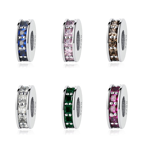 Sterling Silver Crystal Eternity Spacer Charms - Available in 7 Colors