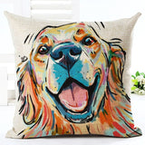 Decorative Cotton Linen Dog Design Pillow Cover - 16 Breeds Available