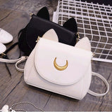 Ladies Luna Cat Shoulder Bag - Available in Black or White