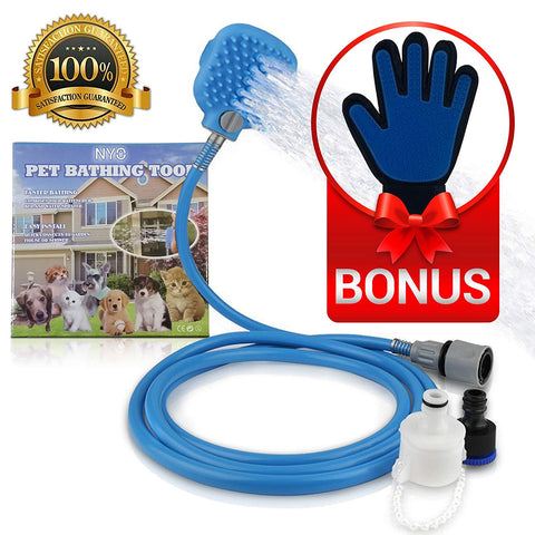 Easy Grip Outside Bath-time Scrubber & Sprayer PLUS DeShedding Message Glove, Dog Bath, Dog Message, Pet Message, Pet Bath, Pet Grooming, Dog Grooming, PetShopLane.com, DeShedding Glove, Shower Sprayer