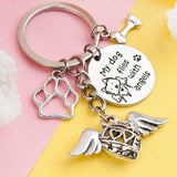 "Memorial Dog Keychain, Dog Keychain, Memorial ""Flying with Angels"" keychain, Silver Dog Keychain with charms"