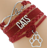 Women's cat bangle red fashion bracelet, Women's red Love your Cat fashion bracelet, Women's Cat bracelet