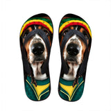 Men's flip flops. beach shoes, beach flip flops, Basset Hound flip flop.