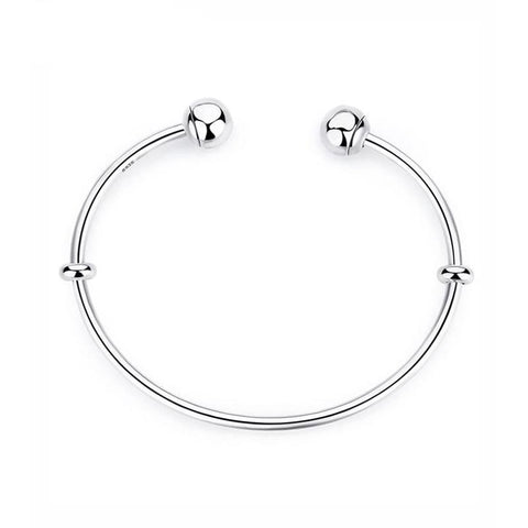 Sterling Silver Bangle Bracelet with Spacer Stoppers and Smooth Ball Ends