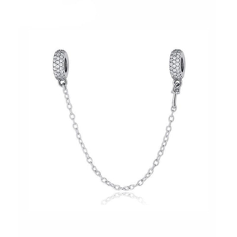 Sparkling Triple Pave Sterling Silver Safety Chain