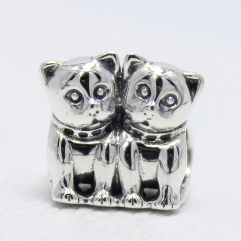 """Loving Kittens"" Sterling Silver Bead Charm"