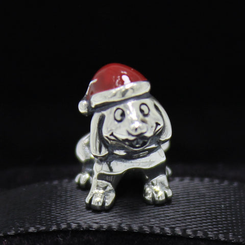 Sterling Silver Puppy with Red Enamel Christmas Stocking Hat Bead