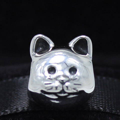 Sterling Silver Curious Cat Charm Bead