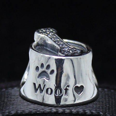 Sterling Silver Dog Bowl Charm for your DIY Bracelet