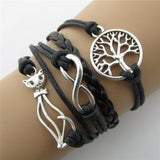 Retro Cat, Tree  & Infinity Leather Cord Bracelet