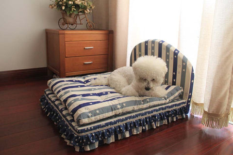 Luxurious Blue Striped 3-Piece Pet Bed, Luxurious Blue Striped 3-Piece Dog Bed, Luxurious Blue Striped 3-Piece Cat Bed, Padded Dog Bed, Padded Cat Bed, Padded Pet Bed