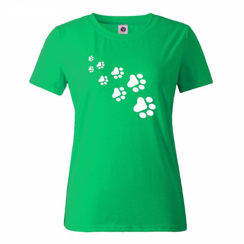 Women's Fashion Paw Print Summer T-Shirt in 15 Colors & Sizes X-Small to XX-Large