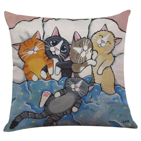 Cotton/Linen Cat Design Throw Pillow Cover - 9 Styles
