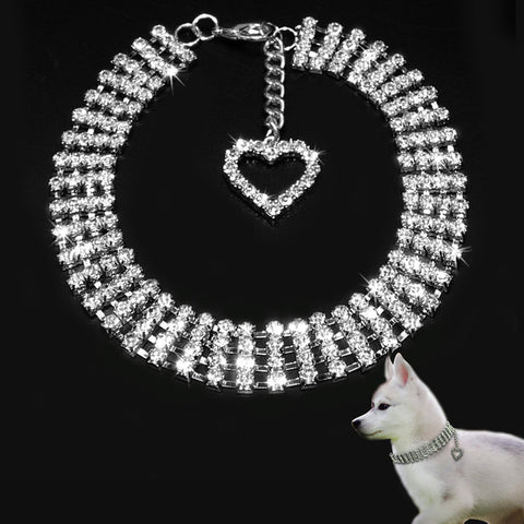 Glamorous Rhinestone Pet Collar with Bling Heart Charm Pendant