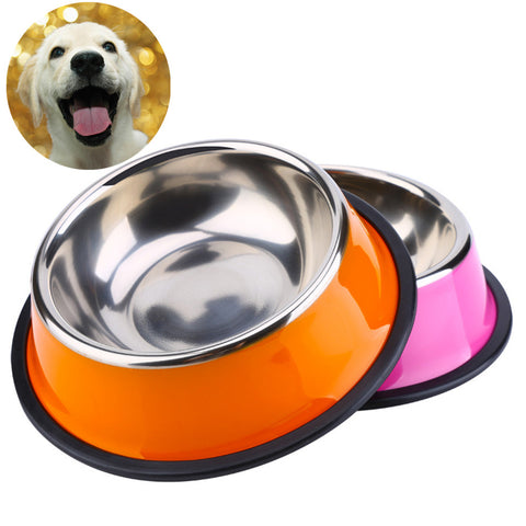 Color Stainless Steel Food & Water Bowl - Available in 3 Colors & 4 Sizes