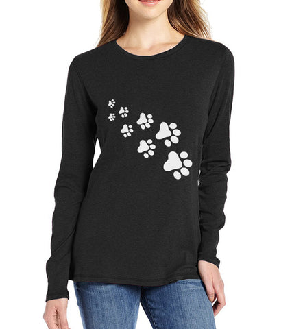 Women's Long Sleeve Paw Print T-shirt