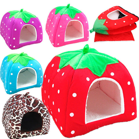 Soft Cozy Strawberry or Leopard Print Pet Nest -Available in 5 sizes & 5 colors