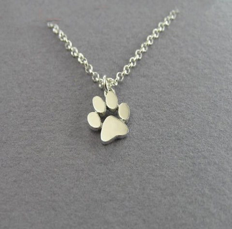 Sterling Silver Paw Print Necklace
