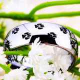 Silver Tungsten Carbide Men's or Women's Ring with Pet's Paw Design