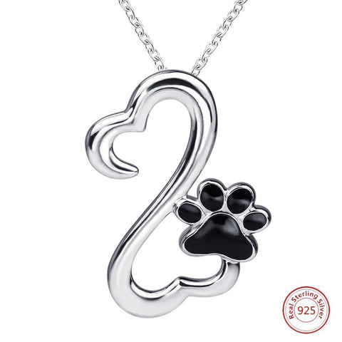 """My Best Friend"" Sterling Silver Open Heart & Paw Necklace"