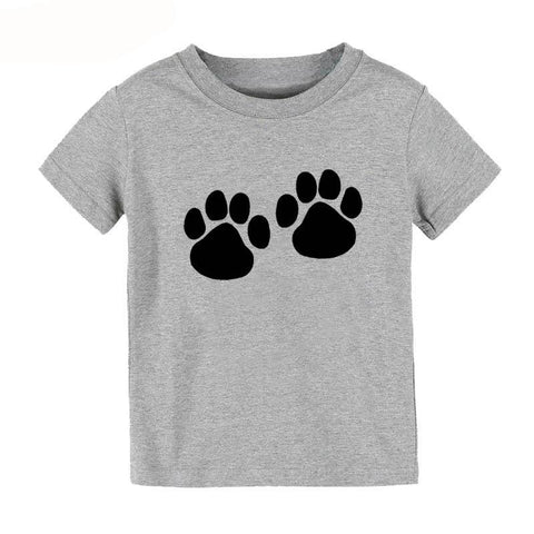 Boy's Gray double paw print round-neck cotton t-shirt, Girl's Gray double paw print round-neck cotton t-shirt