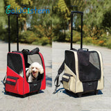 Breathable Pet Carrier, All-in-one Pet Backpack & Rolling Cart, Pet rolling tote, Pet rolling Luggage