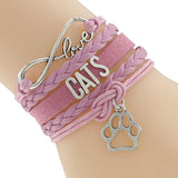 Women's cat bangle pink fashion bracelet, Women's pink Love your Cat fashion bracelet, Women's Cat bracelet