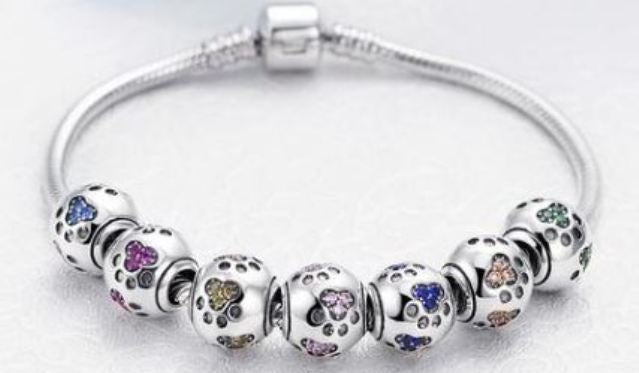Sterling Silver Dog Paw Bracelet