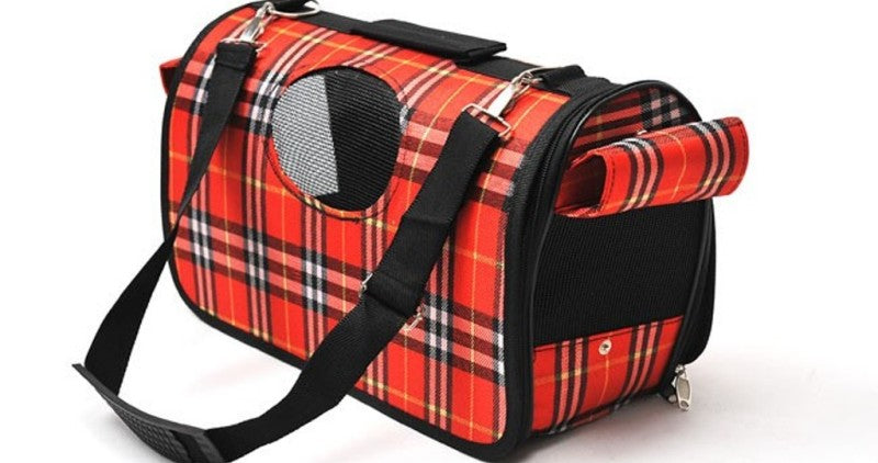 Red Plaid Dog and Cat Carrier Tote