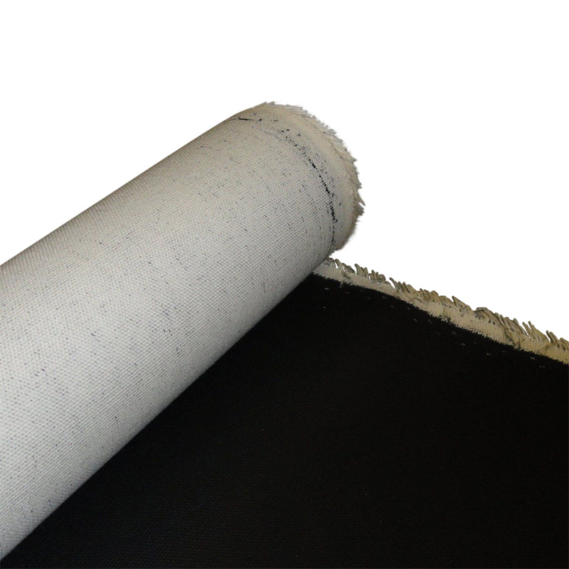 "Rolled Black Cotton Art Canvas, Primed, 63"" wide. 6, 20, 50 and 100 yard roll."