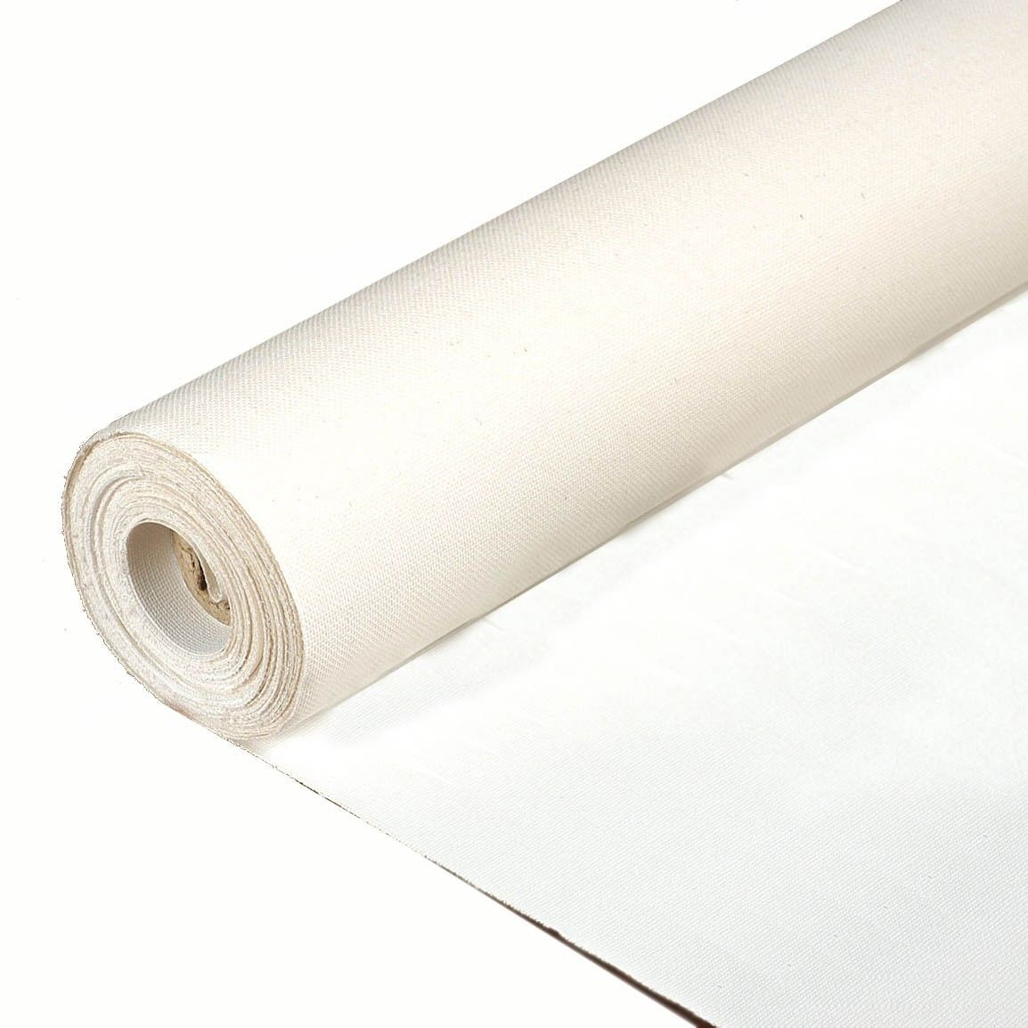 "Rolled Primed Cotton/Poly portrait smooth Canvas, 60"" wide. 6, 20, 50 and 100 yard roll."
