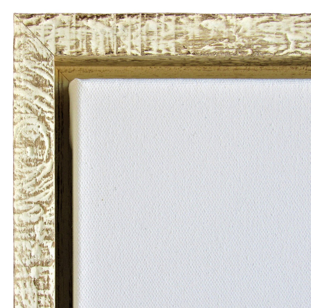 "Rustic White Floater Frame for 1.5"" deep art canvas - Sunbelt Mfg. Co."