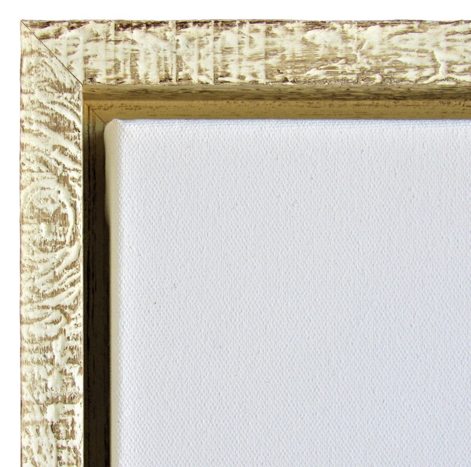 "Rustic White Floater Frame for 1.5"" deep art canvas"