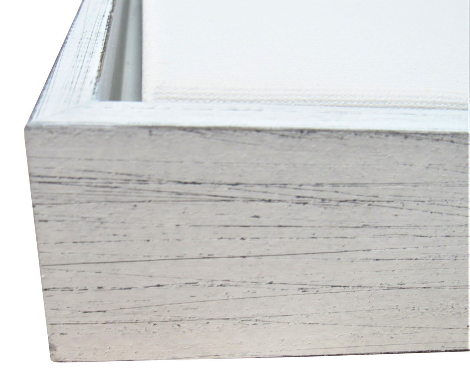 "Weathered White Floater frame 2"" deep profile, for 1.5"" Canvas"