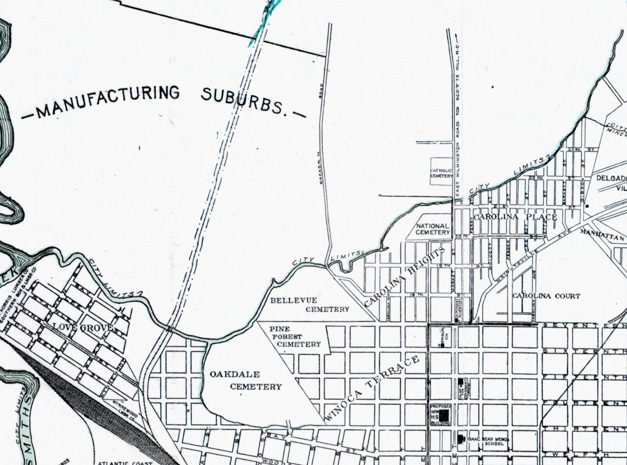 Wilmington, NC Historic Downtown Street Map (c  1918) – C+C