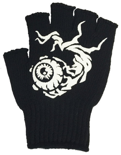 White Eye Cut off Fingerless Glove