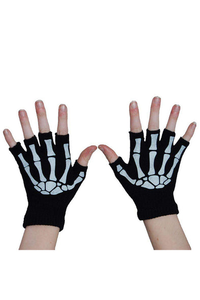 Black w/ White Fingerless Skeleton Gloves - Vampirefreaks Store