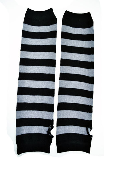Poizen Striped Black/Gray Armwarmers - Vampirefreaks Store